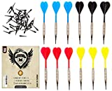 SHOT TAKER CO. EST. 2017 Soft Tip Darts Set | 12 Brass 16 Grams Darts | 50 Black 2BA Tips | 3 of each colour: Red, Blue, Yellow, Black | Perfect for Electronic and Plastic Dartboard at Bar, Tournament