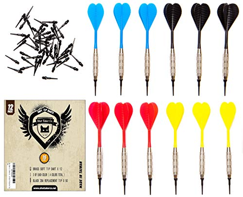SHOT TAKER CO. EST. 2017 Soft Tip Darts Set | 12 Brass 16 Grams Darts | 50 Black 2BA Tips | 3 of each colour: Red, Blue, Yellow, Black | Perfect for Electronic and Plastic Dartboard at Bar, Tournament ()