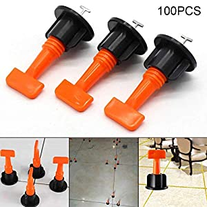 Ywillink 100Pcs Flat Ceramic Floor Wall Construction Tools Reusable Tile Leveling System Kit