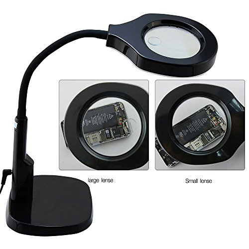 Tabletop Magnifying Glass with Adjustable Gooseneck Arm and LED Light   Top-Rated Table and Desk Magnifier with 5x/12x Magnification Lens by Global Care Market ()