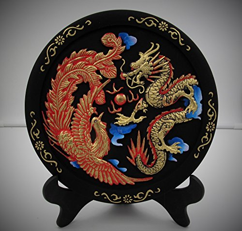 Dancing Dragon & Phoenix Motif, Painted Carving on Charcoal Stone