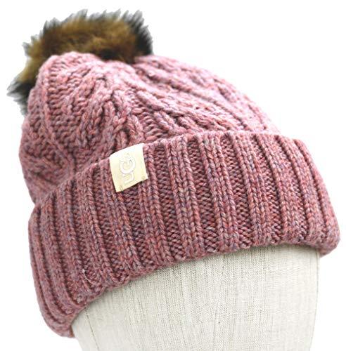 UGG Women's Cable Knit Pom Beanie Smokey Pink One Size