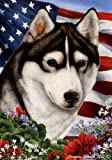 Cheap Siberian Husky Dog Breed Patriotic House Flag 28 x 40 Inches Black-White