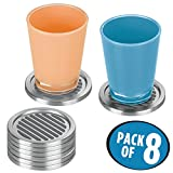 mDesign Decorative Modern Metal Stacking Round Drink Coasters with plastic non-skid grip for Kitchen, Dining Room, Table and Bar - Bulk Set of 8, Brushed Stainless Steel