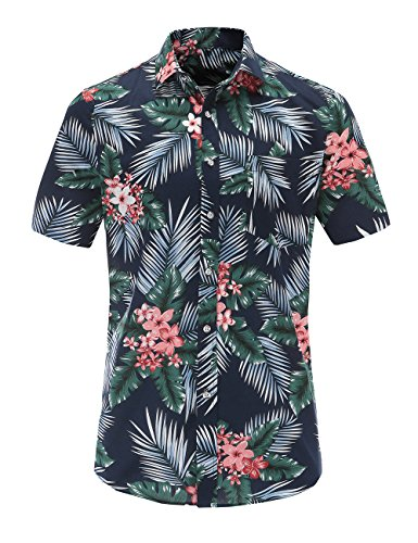 JEETOO Mens Casual Flower Print Hibiscus Short Sleeve Hawaiian Aloha Shirt (Nplam, Small)]()