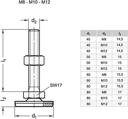 Gummi aufvulkanisiert Ganter Normelemente GN 41-50-M8-50-D3-SK 41-50-M8-50-D3-SK-Edelstahl Stellf/ü/ße Silber