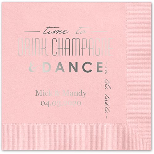 Champagne Personalized Beverage Cocktail Napkins product image