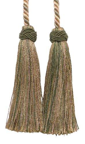 (DecoPro Double Tassel/Olive Green, Champagne/Tassel Tie with 4 inch Tassels, 26