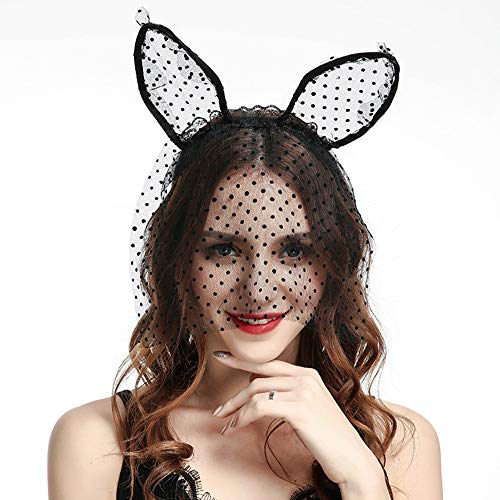 Halloween Cat Mask And Ears (Lace Cat Ears Headband Black Halloween Costume Mask Hair Accessories Black Cosplay Party Birthday Christmas Gifts for Women)