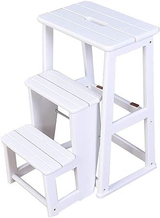 Escalera Plegable De 3 Pisos Escalera Plegable De Madera Maciza Escalera Plegable De InstalacióN InstalacióN De Madera De Roble Para El Huerto Familiar, Los NiñOs Pueden Usar 150 Kg (Blanco): Amazon.es: Hogar