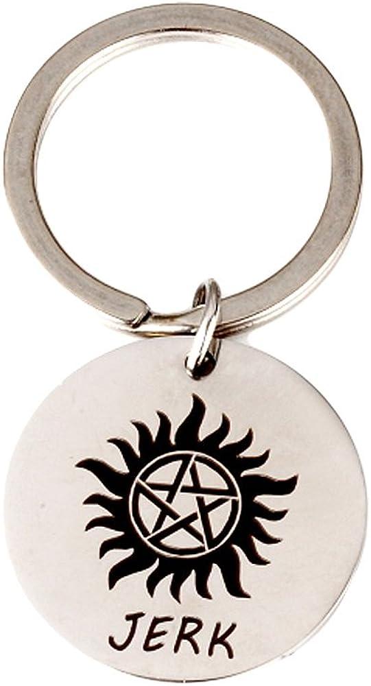 Meiligo Couples Gift Supernatural Inspired Keychain Jerk and Bitch Key Chain