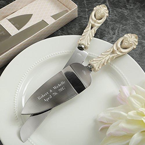Engraved Vintage Design Antique Ivory Cake Server And Cake Knife Wedding Set (Antique Vintage Design)