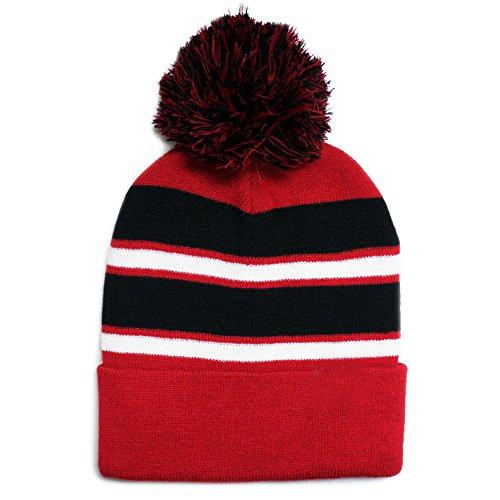 City Hunter Sk908 Winter Basic Stripe Pom Beanie Hats 30 Colors ()
