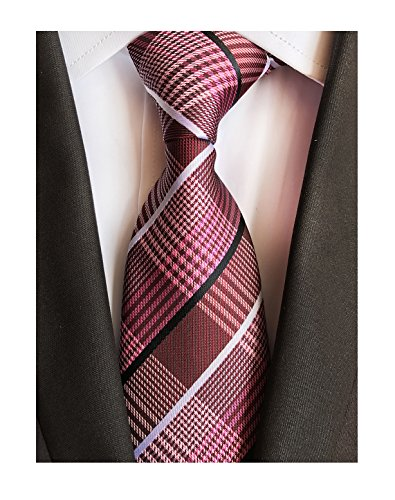 Men's Claret Red Black White Woven Plaids Business Formal Suits Silk Ties for BF