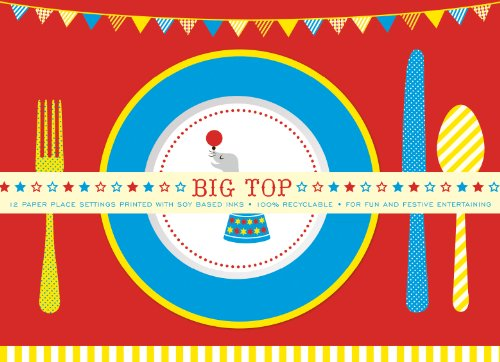 Party Partners Design Retro Big Top Circus Themed Placemats, Blue/Red, 12 (Inspired Placemat)