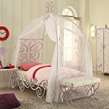 1PerfectChoice Priya Youth Bedroom Full Canopy Bed White Purple Metal Frame Butterfly
