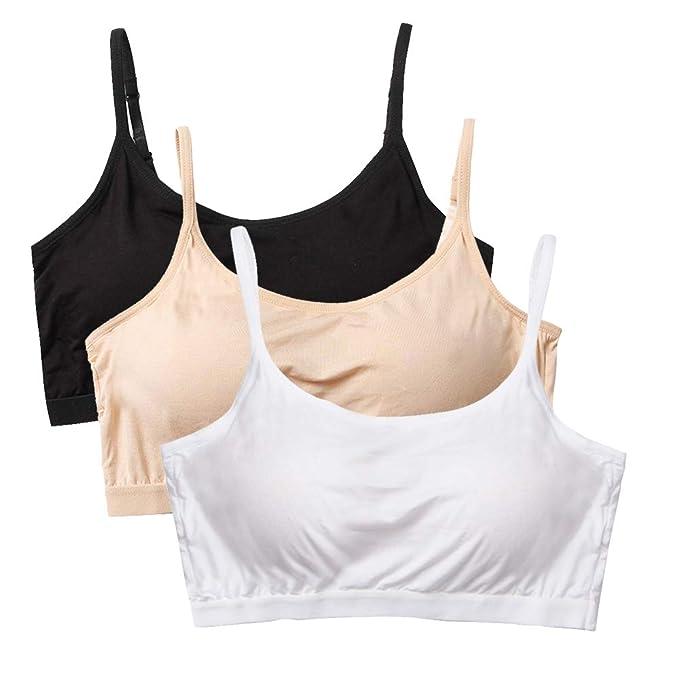 Sujetadores Deportivo para Mujer 3 Piezas sin Aros con Relleno Tirante Ajustable Suave Cómodo para Dormir