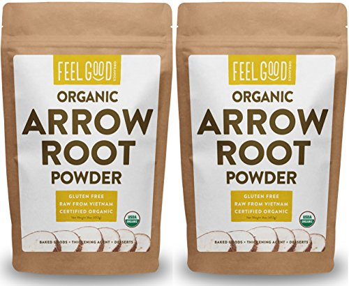 Organic Arrowroot Powder (Flour) - 2x 1 Pound Reselable Bags (32oz/2 lbs Total) - 100% Raw From Vietnam - by Feel Good Organics