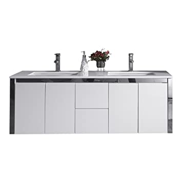 Ove Decors Lelio 60 Floating Double Sink Bathroom Vanity, 60 Inch
