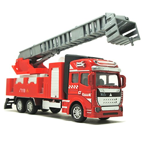Fire Transporter - Friction Powered 1:48 Matel Car Model Series Fire Engine Transporter Truck Military Vehicle Eengineering Car (Ladder Truck)