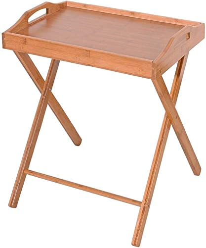 A Y Bamboo Folding Table, Portable TV Table with Serving Tray, Flood Standing Folding Dining-Table for Eating, Reading, Watching TV, Working Wood Color