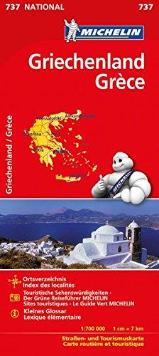 Michelin Griechenland: Straßen- und Tourismuskarte (MICHELIN Nationalkarten, Band 737)