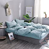3 Pcs Jersey Cotton Comforter Cover Set,Stripe Pattern(1 Duvet Cover,2 Pillow Shams) Home Bedding Set---Soft&ComfortableMint,King