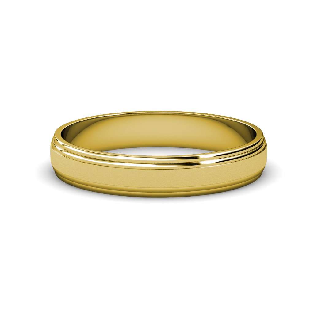 Glass Finish 4mm Step Edge Wedding Band in 14K Yellow Gold.Size 11.50 by TriJewels