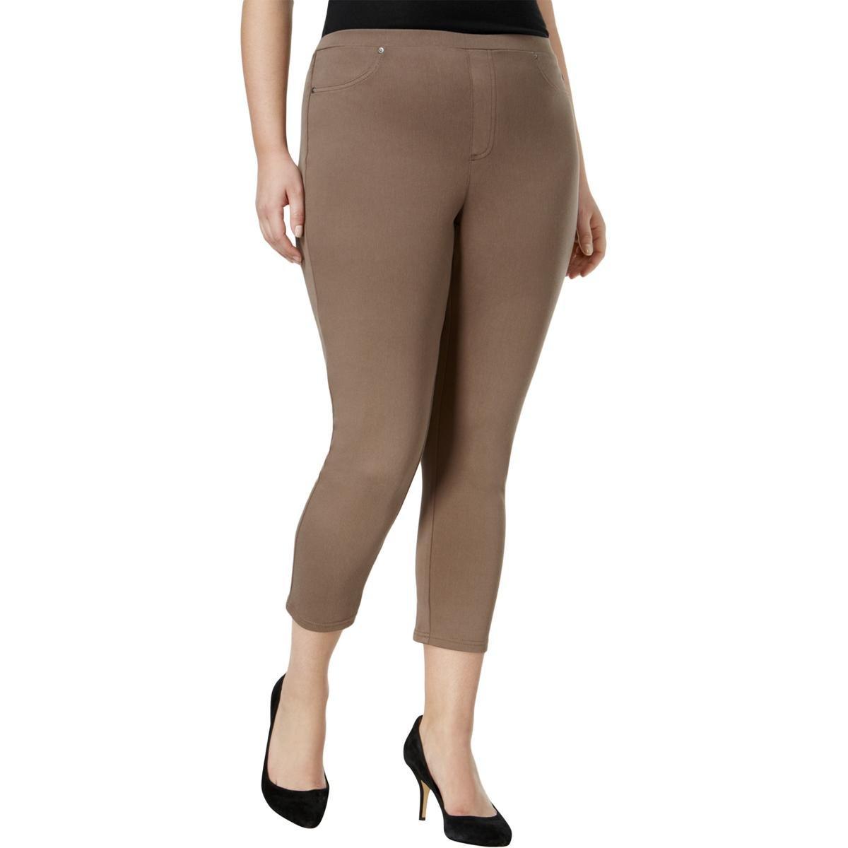 Style & Co.. Womens Plus Knit Capri Legging Ponte Capri Pants Brown 0X