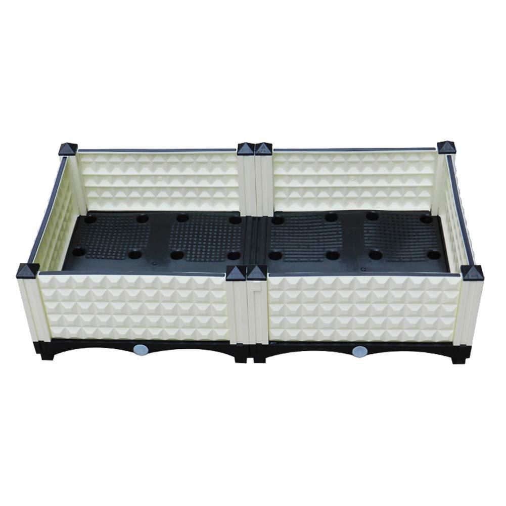 Entrega rápida y envío gratis en todos los pedidos. Garden Bed W/Drainer, Plástico Seguro Resistente Resistente Resistente Interior Y Exterior Gardening Vegetal Y Flor Macetero Box,White,80  40  22Cm  oferta especial