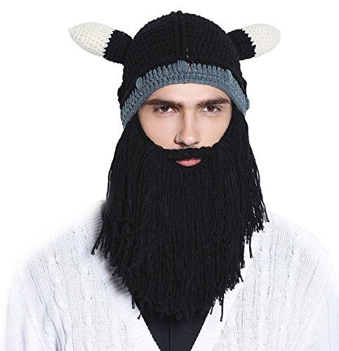 Men Knit Viking Beard/Mustache Hat Beanie, Black Beard