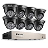 ZOSI 8-Channel HD-TVI 1080N/720P Video Security System DVR and (8) 1.0MP Indoor/Outdoor Weatherproof