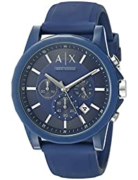 Armani Exchange AX1327 Silicone Watch, Men, Blue