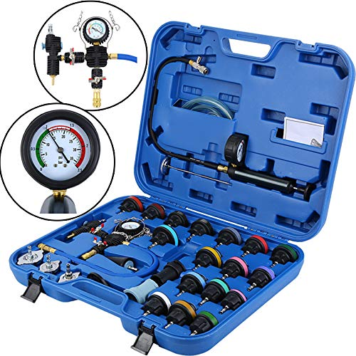 Honhill 28pcs Universal Radiator Pressure Tester and Vacuum Type Cooling System Kit (Pressure Tester Adapter)