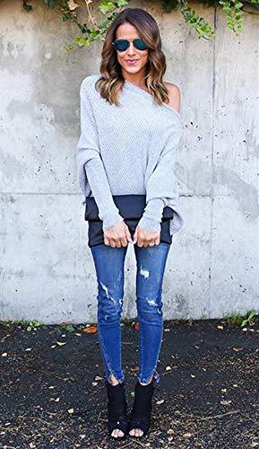 Battercake Bluse Casuale A Eleganti Camicetta Maglia Autunno Grau Off Lunghe Tops Camicia Casual Primaverile Maniche Shirts Shoulder Donne Magliette Monocromo Donna Baggy PxPFw7rnq