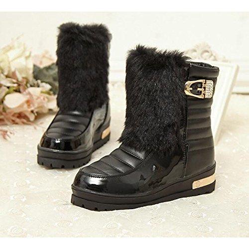 HSXZ Charol zapatos de mujer primavera otoño comodidad nieve botas botas botas Mid-Calf plana para Casual Negro Marrón rojo Black
