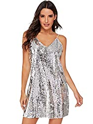 Silver Sleeveless Fit and Flare Loose Party Clubwear Dress