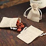 Package of 24 Trendy Natural Burlap Drawstring Pouches for Favors, Parties, and Crafting by Unknown