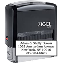 "ZIGEL S-13 Large Text Stamp 7/8"" x 2-3/8"" - Customize Online up to five lines of type - Many font and color choices"