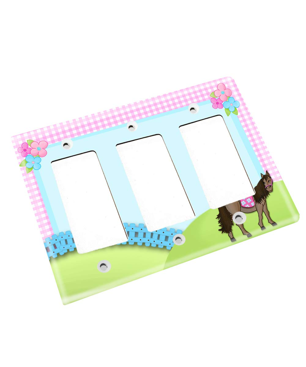 Pink and Blue Horse Single Girl Nursery Bedroom Single Light Switch Cover LS0040 (Triple Decora)