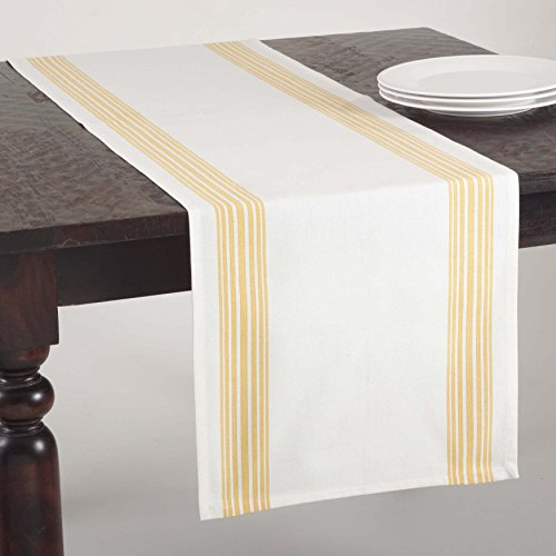 SARO LIFESTYLE 519 Multi Ligne Collection Printed Striped Design Table Runner, 16 x 72-Inch, Yellow 16