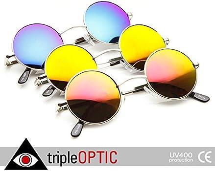 3854d7c129 Amazon.com  zeroUV - Retro Round Sunglasses for Men Women with Color ...