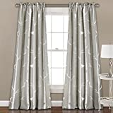 2 Piece Girls Bird On Tree Sage Grey White Window Curtain Set, 84 Inch Floral Pattern Panels Pair, Gray Colour Kids Nature Themed Polyester Forest Wildlife Pretty Unlined Rod Pocket
