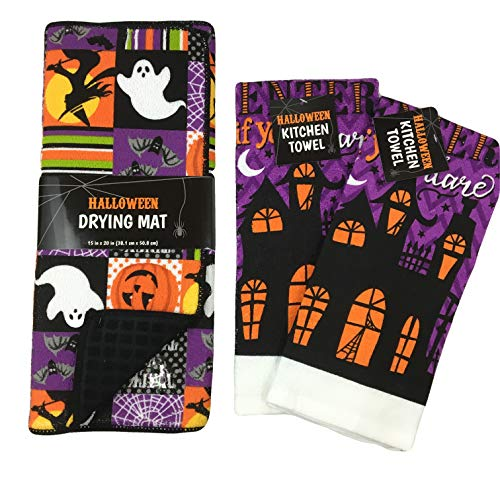Halloween Haunted Dish Drying Mat and Kitchen Towel Decoration Set