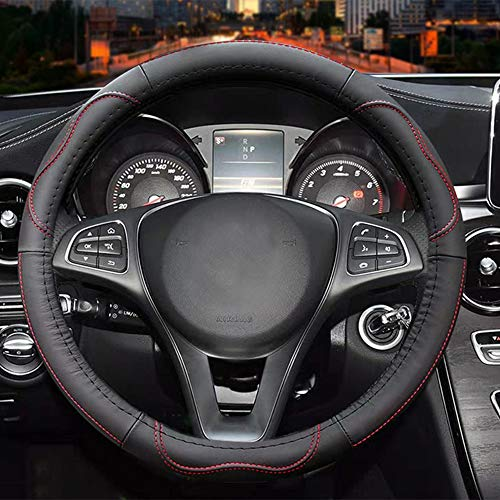 Universal 15 inch Microfiber Leather Auto Car Steering Wheel Cover, Black and Red (2018 Mustang Gt Wheels)