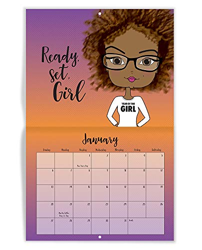 - African American Calendar, Inspirational Quotes, Motivational Confidence, Positive, Monthly, Daily, Wall, Desk Calendar 2019