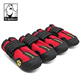 "Colorfulpets Waterproof Pet Boots for Medium to Large Dogs Labrador Husky Shoes 4 Pcs (Red, 6 (2.9""x2.5""))"
