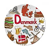 Denmark Landscap Animals National Flag Dessert Plate Decorative Porcelain 8 inch Dinner Home