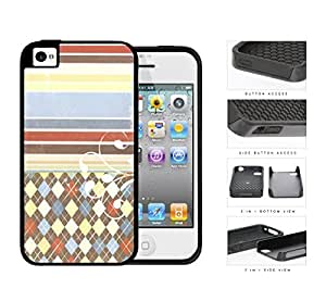 Colorful Washed Out Old Vintage Stripes and Diamonds Pattern 2-Piece High Impact Dual Layer Black Silicone Cell Phone Case iPhone 4 4s