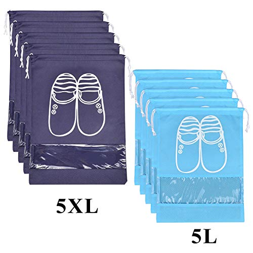 Shoe Travel Bags - 10 Pcs Travel Dust-proof Shoe Bags with Drawstring and Transparent Window Shoe Organizer Space Saving Storage Bags(5pcs XL and 5pcs L)